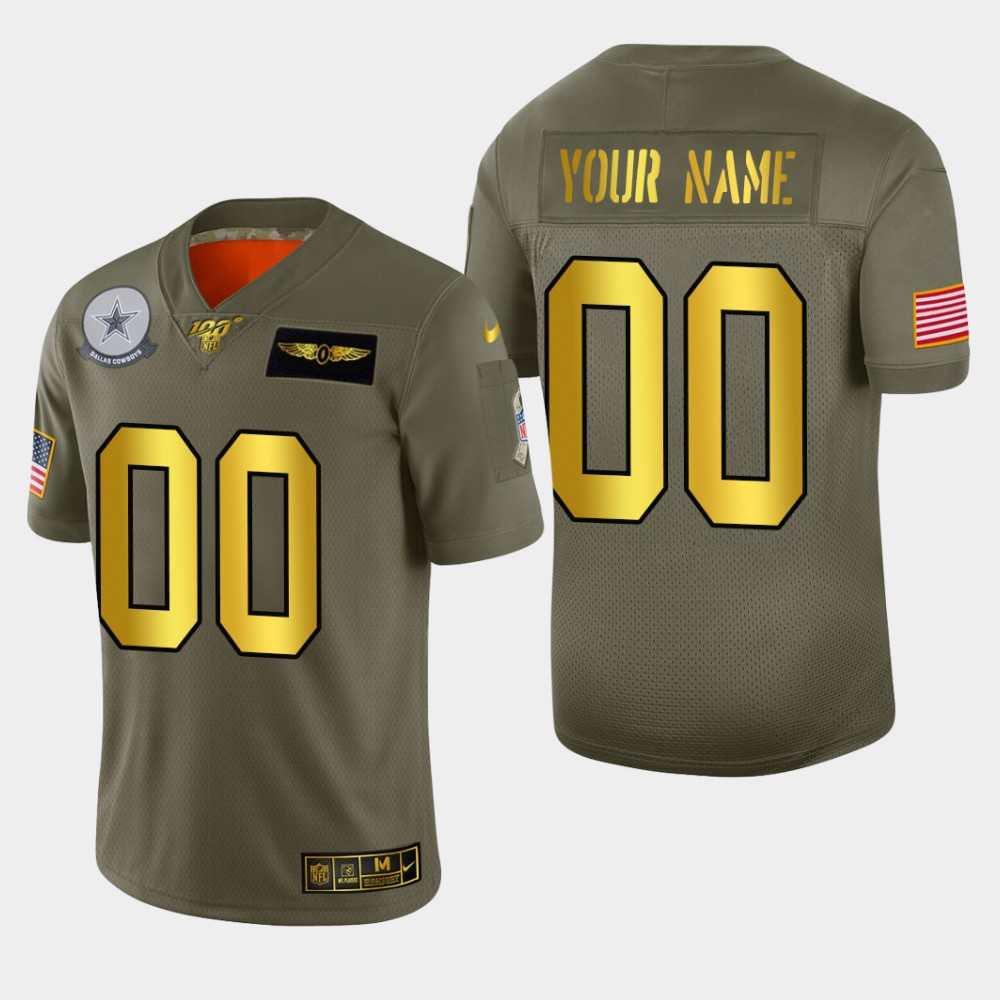 Nike Cowboys Customized 2019 Olive Gold Salute To Service 100th Season Limited Jersey