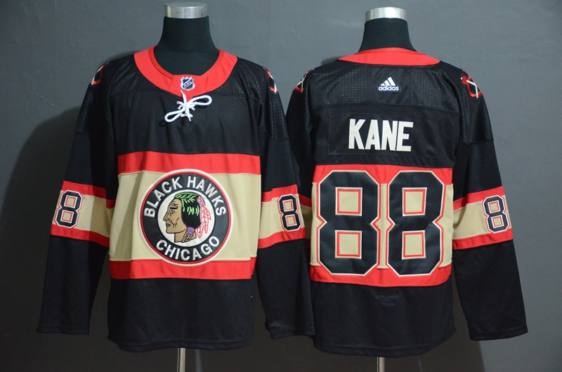 Blackhawks 88 Patrick Kane Premier Black New Third Adidas Jersey