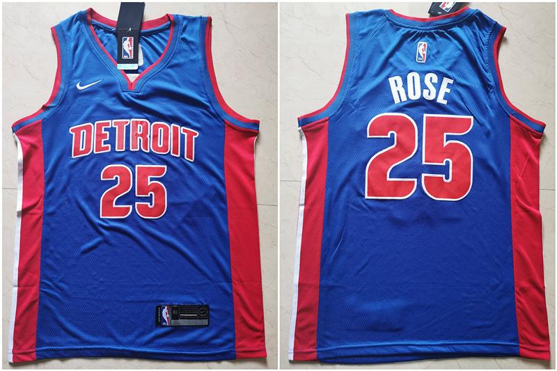 Pistons 25 Derrick Rose Blue Nike Swingman Jersey