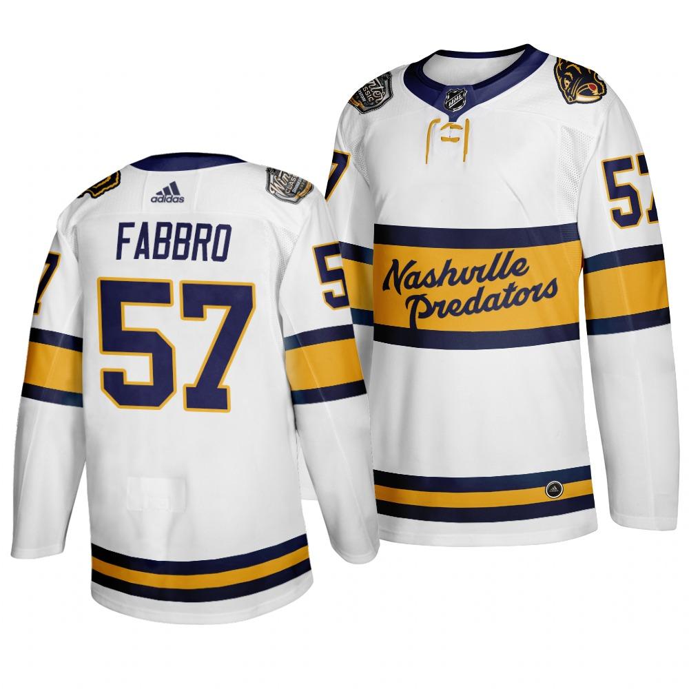 Predators 57 Dante Fabbro White 2020 Winter Classic Adidas Jersey