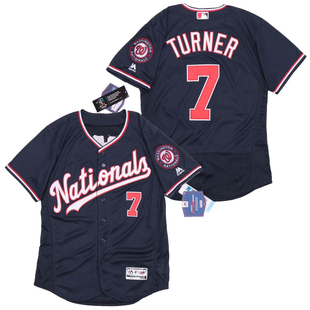Nationals 7 Trea Turner Nave Flexbase Jersey