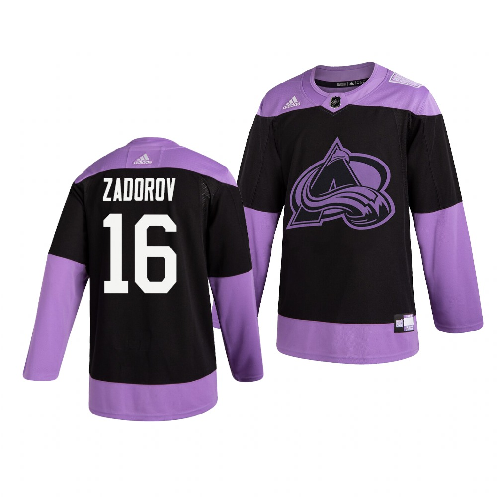 Avalanche 16 Nikita Zadorov Black Purple Hockey Fights Cancer Adidas Jersey