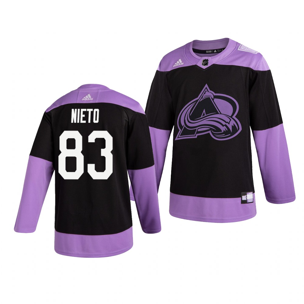 Avalanche 83 Matt Nieto Black Purple Hockey Fights Cancer Adidas Jersey