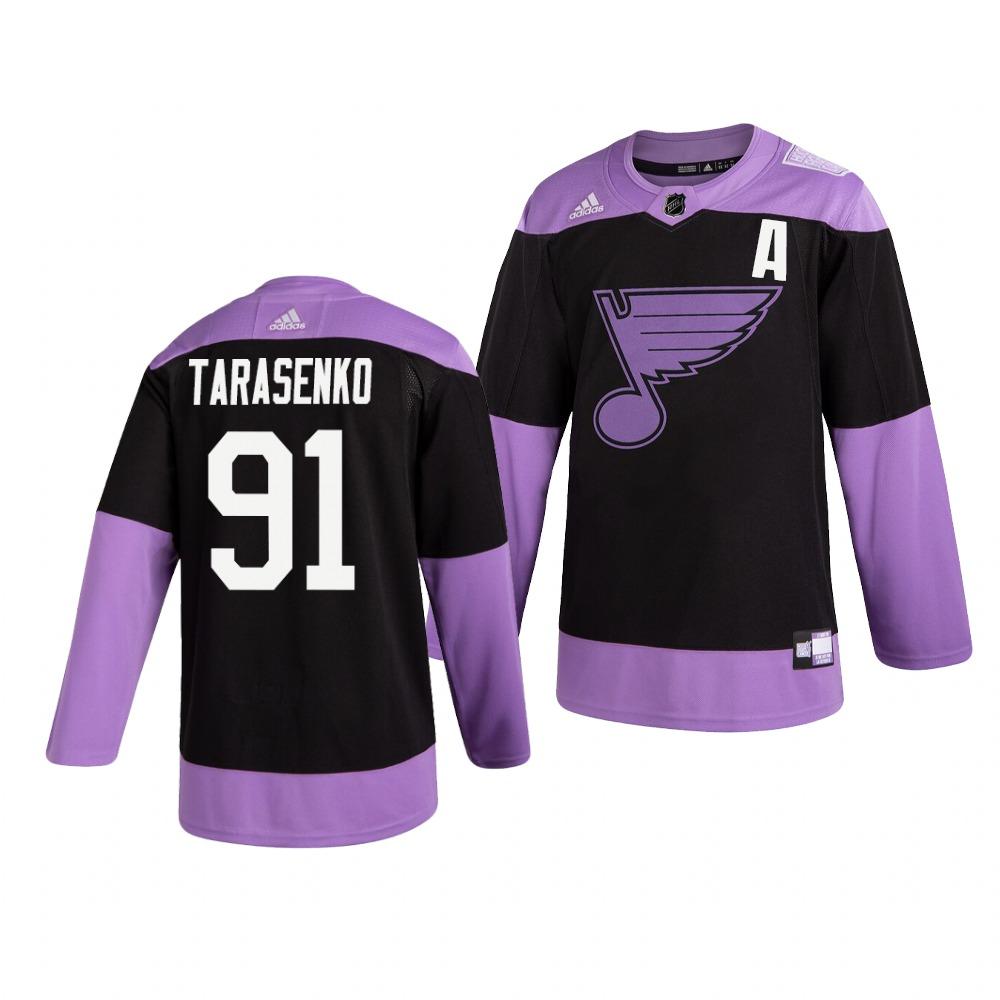 Blues 91 Vladimir Tarasenko Black Purple Hockey Fights Cancer Adidas Jersey