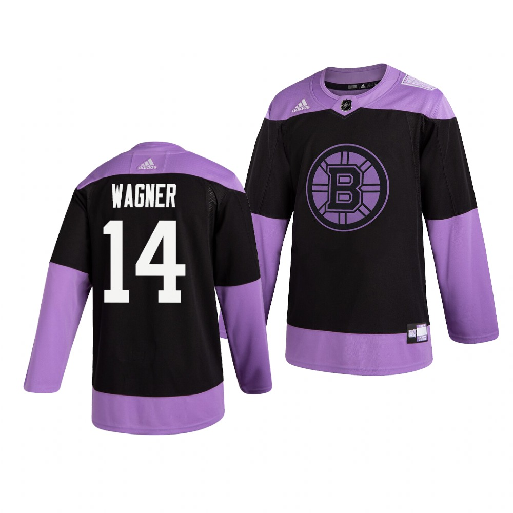Bruins 14 Chris Wagner Black Purple Hockey Fights Cancer Adidas Jersey