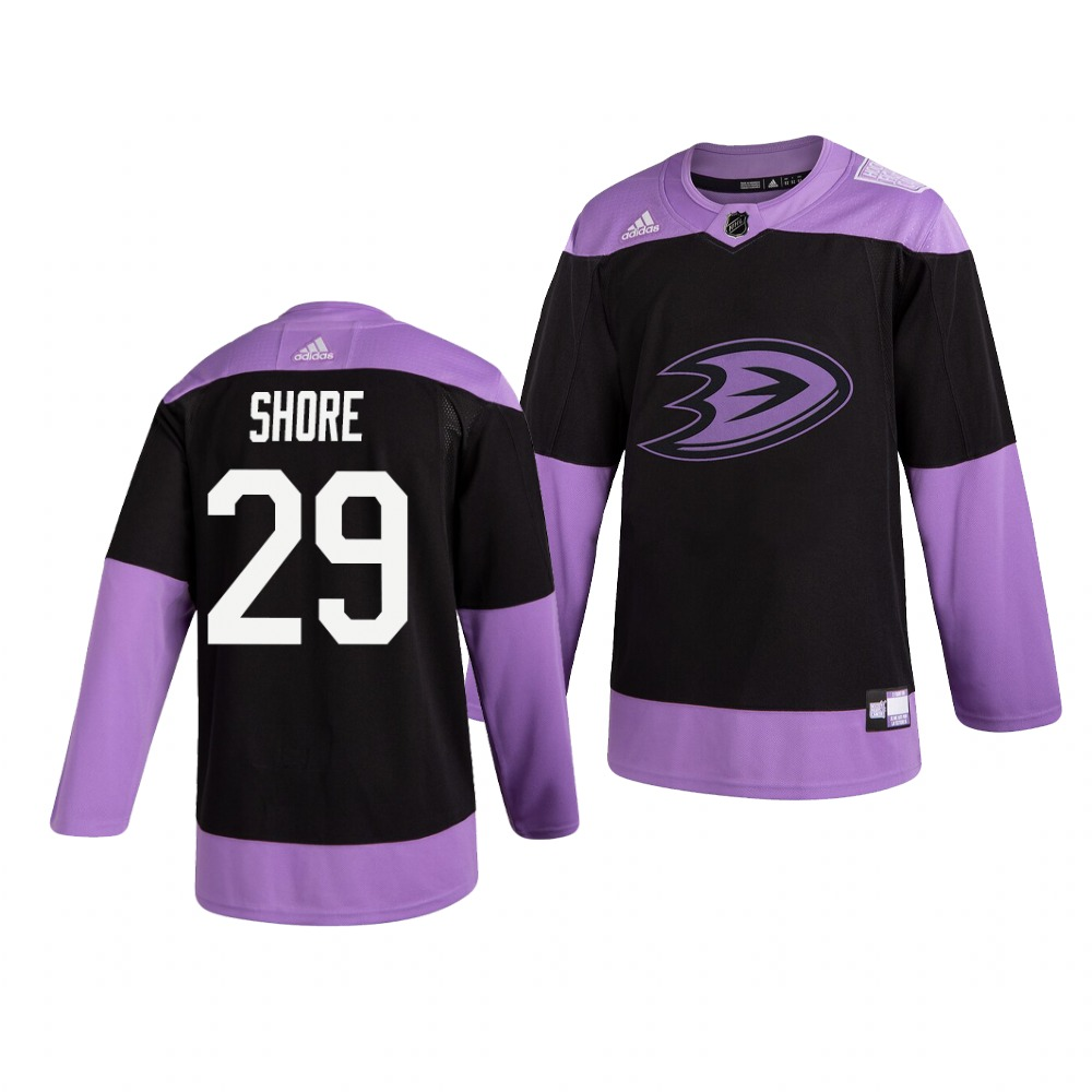 Ducks 29 Devin Shore Black Purple Hockey Fights Cancer Adidas Jersey