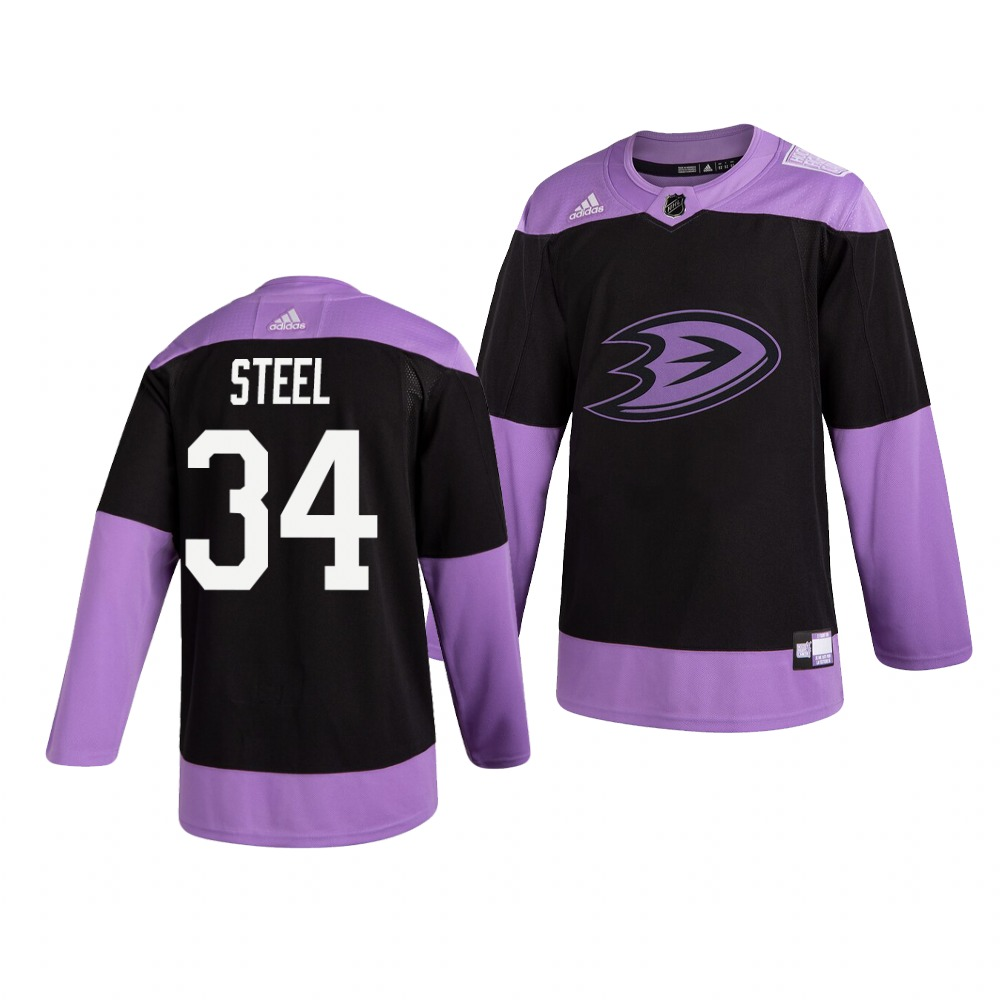 Ducks 34 Sam Steel Black Purple Hockey Fights Cancer Adidas Jersey