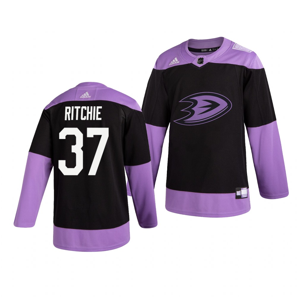 Ducks 37 Nick Ritchie Black Purple Hockey Fights Cancer Adidas Jersey