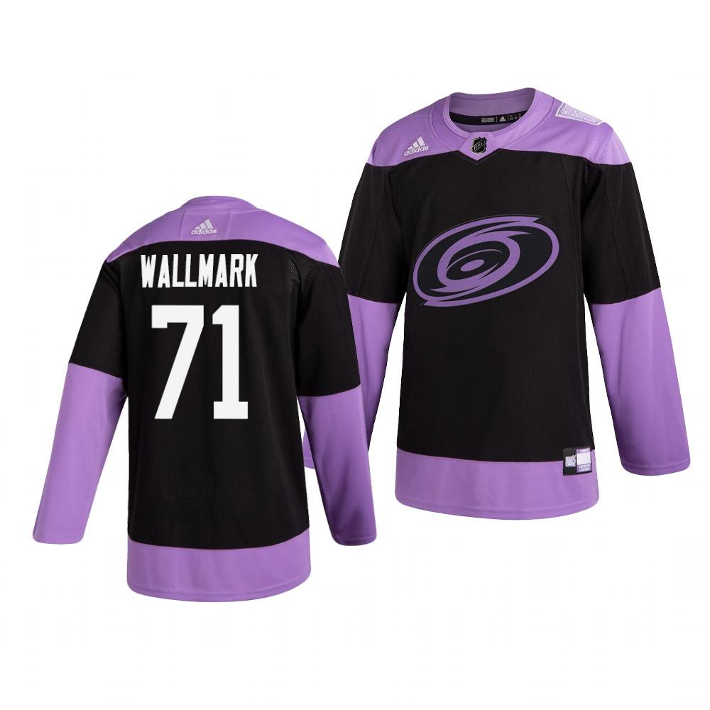 Hurricanes 71 Lucas Wallmark Black Purple Hockey Fights Cancer Adidas Jersey