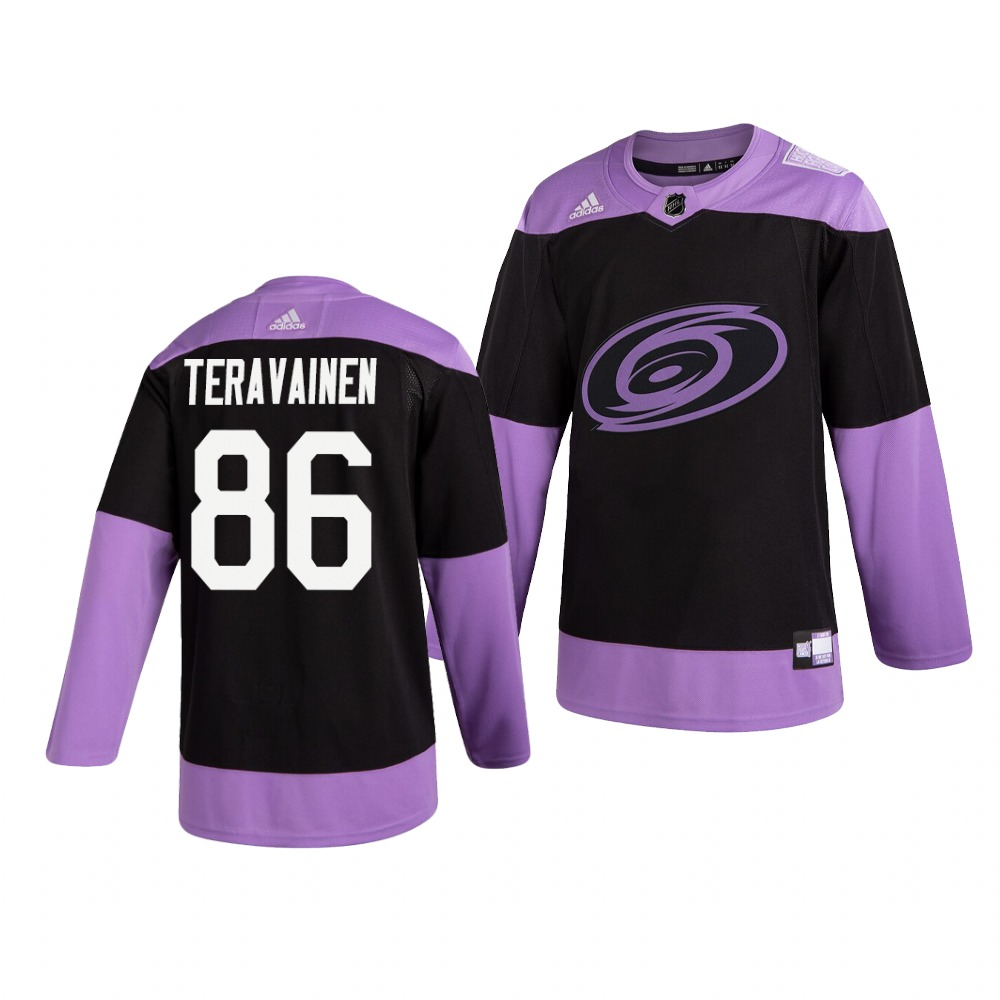 Hurricanes 86 Teuvo Teravainen Black Purple Hockey Fights Cancer Adidas Jersey