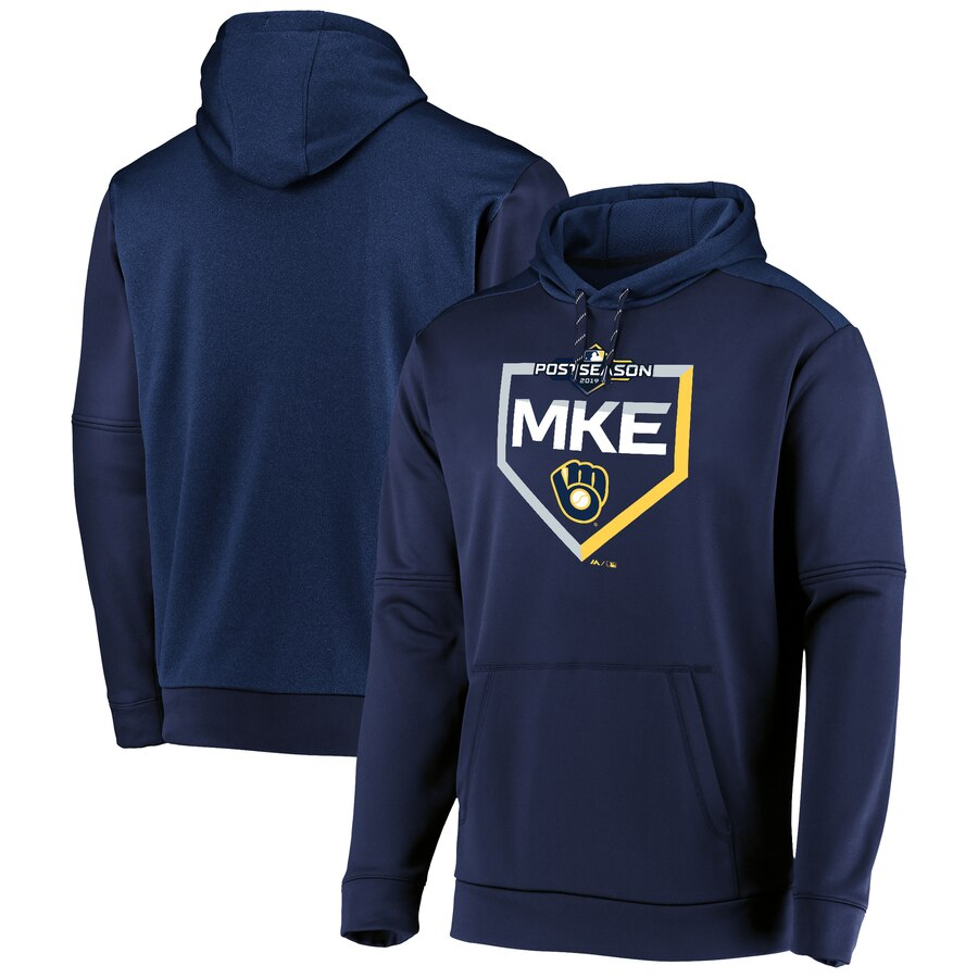 Milwaukee Brewers Majestic 2019 Postseason Dugout Authentic Pullover Hoodie Navy