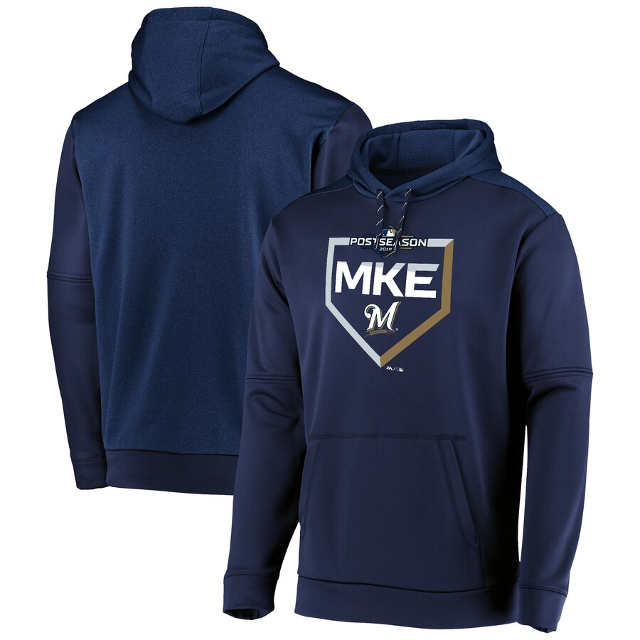 Milwaukee Brewers Majestic 2019 Postseason M Logo Dugout Authentic Pullover Hoodie Navy