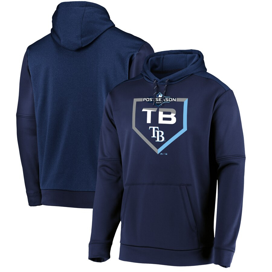 Tampa Bay Rays Majestic 2019 Postseason Dugout Authentic Pullover Hoodie Navy