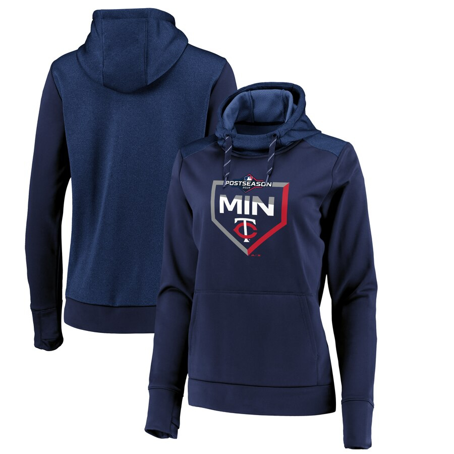 Minnesota Twins Majestic Women's 2019 Postseason Dugout Authentic Pullover Hoodie Navy