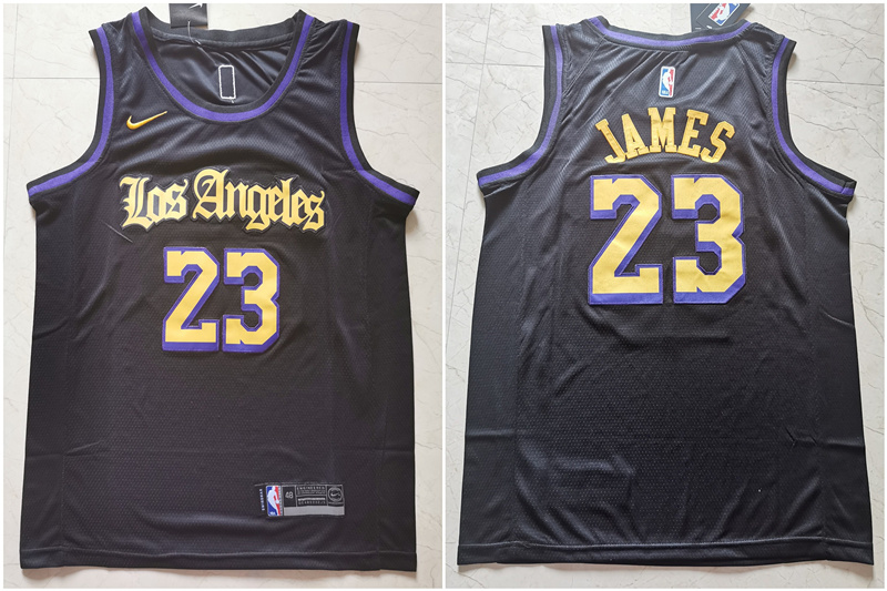 Lakers 23 Lebron James Black City Edition Nike Swingman Jersey