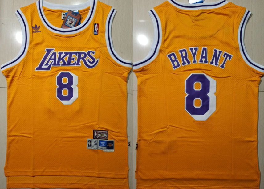 Lakers 8 Kobe Bryant Yellow Hardwood Classics Swingman Jersey