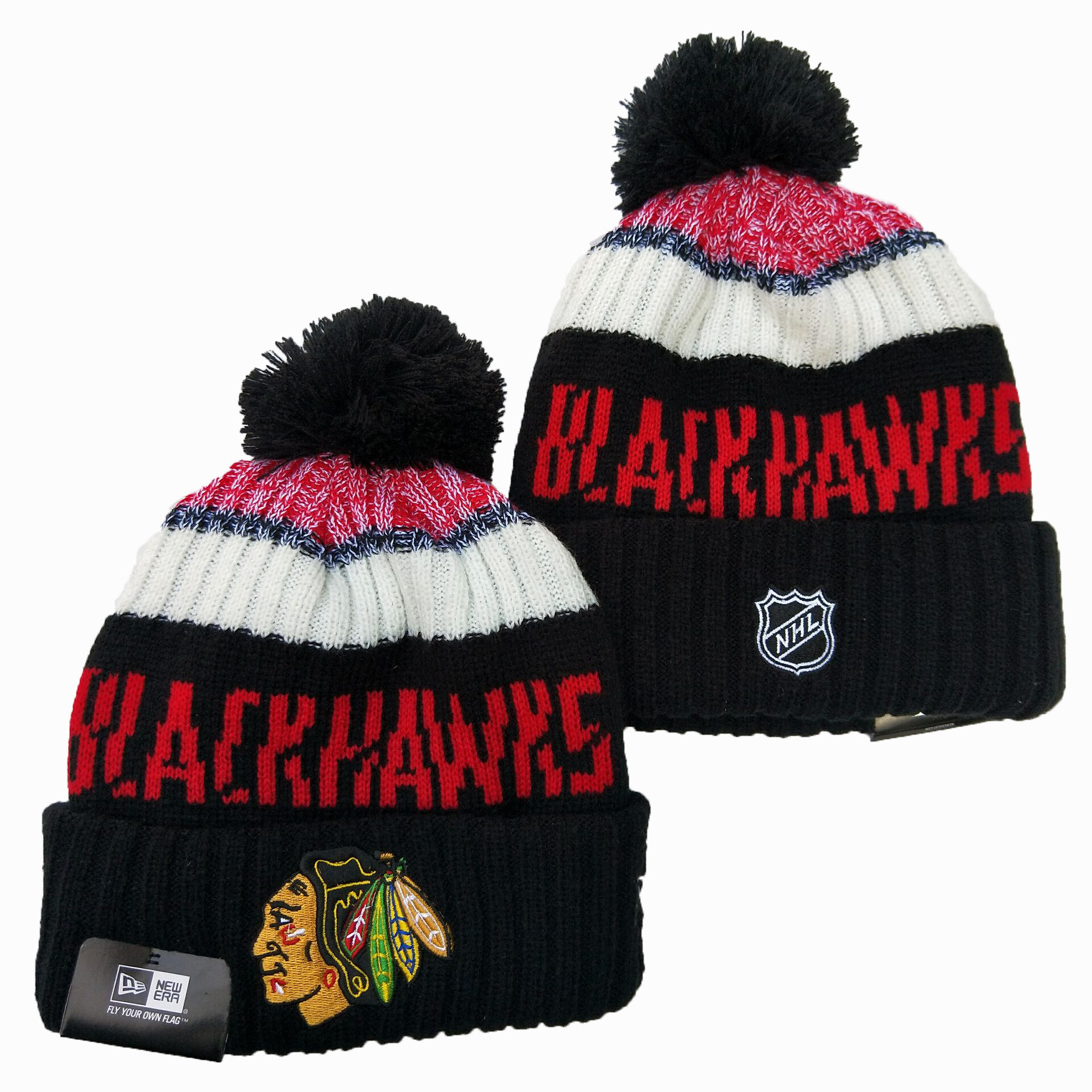 Blackhawks Team Logo Black Wordmark Cuffed Pom Knit Hat YD