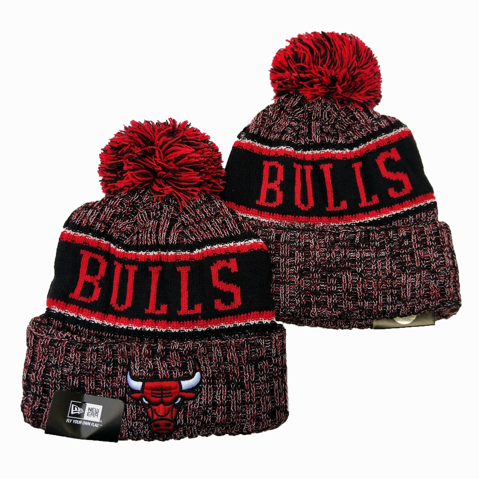 Bulls Team Logo Red Wordmark Cuffed Pom Knit Hat YD