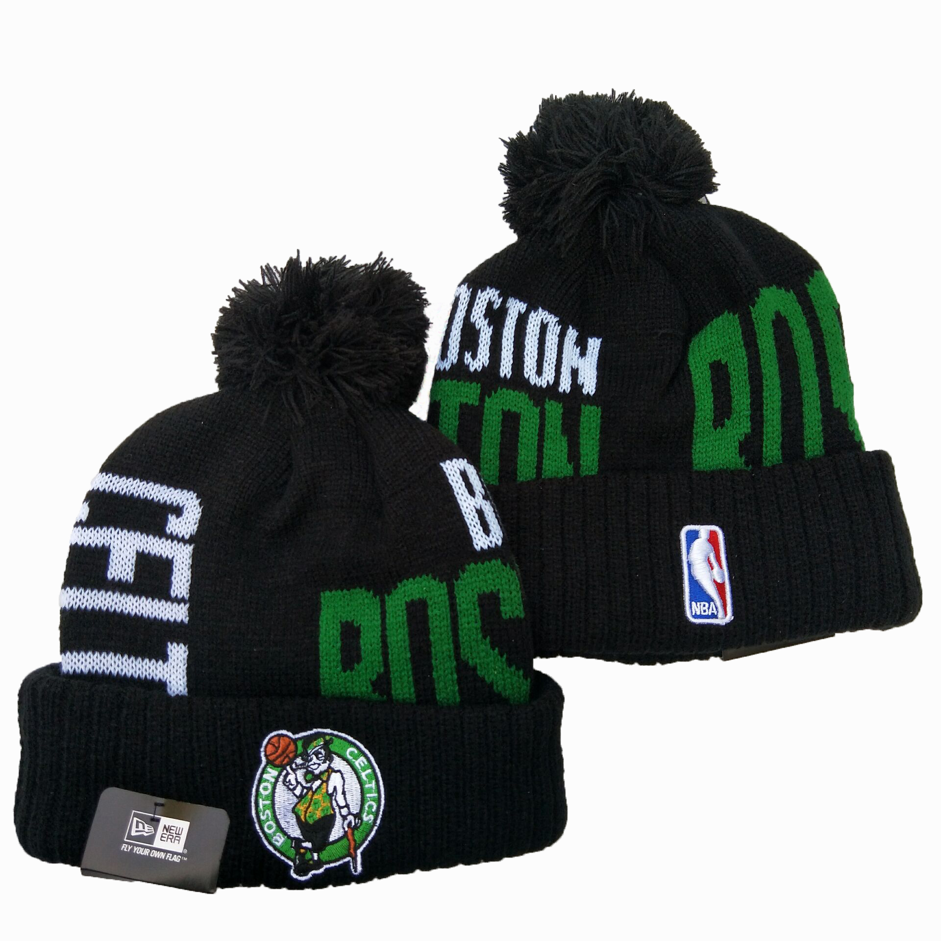 Celtics Team Logo Black Wordmark Cuffed Pom Knit Hat YD