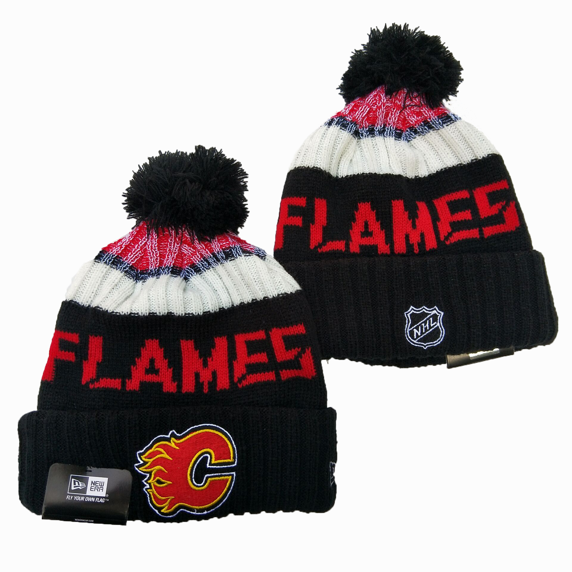 Flames Team Logo Black Wordmark Cuffed Pom Knit Hat YD