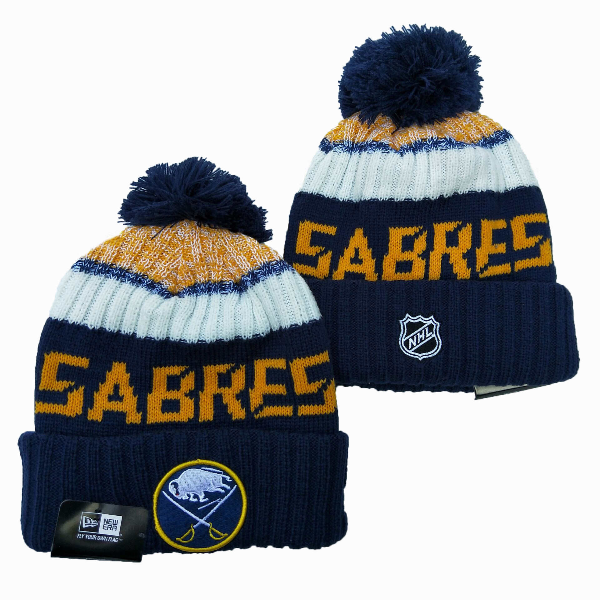 Sabres Team Logo Navy Wordmark Cuffed Pom Knit Hat YD