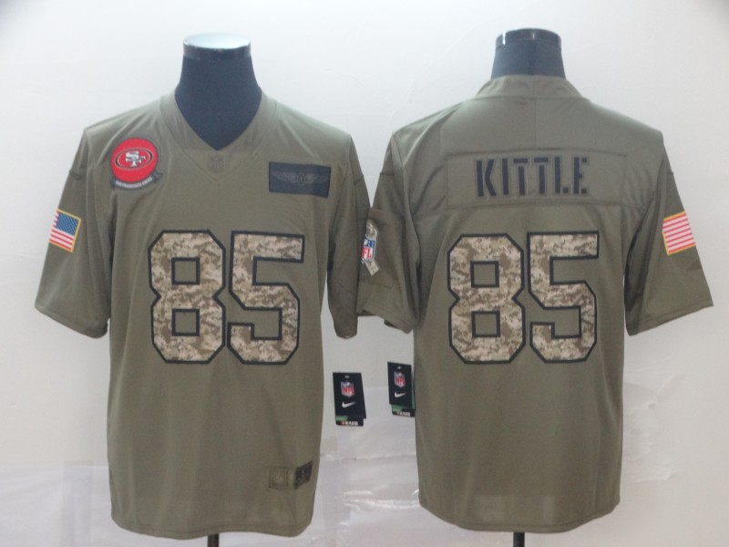 Nike 49ers 85 George Kittle 2019 Olive Camo Salute To Service Limited Jersey