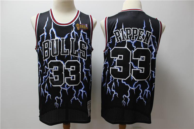 Bulls 33 Scottie Pippen Black Hardwood Classics Lightning Limited Edition Jersey