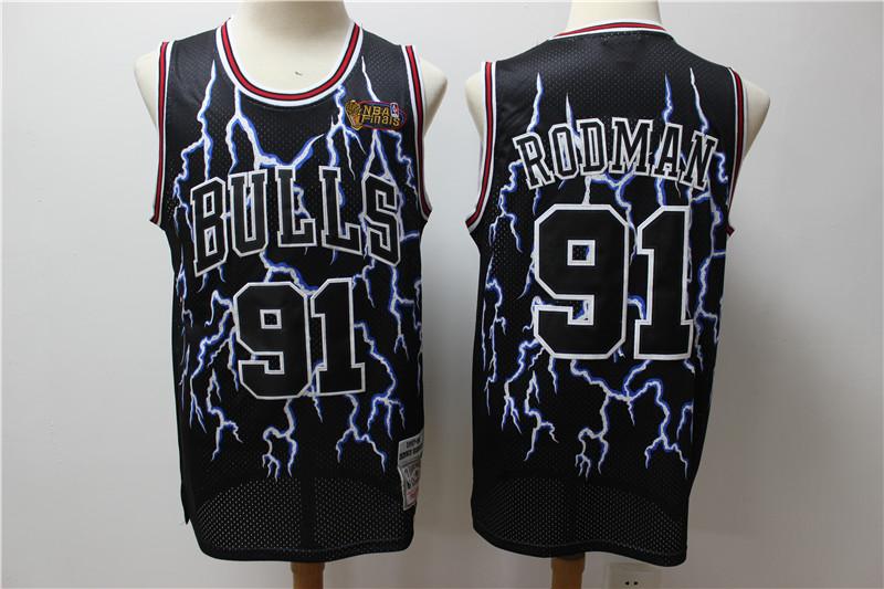 Bulls 91 Dennis Rodman Black Hardwood Classics Lightning Limited Edition Jersey