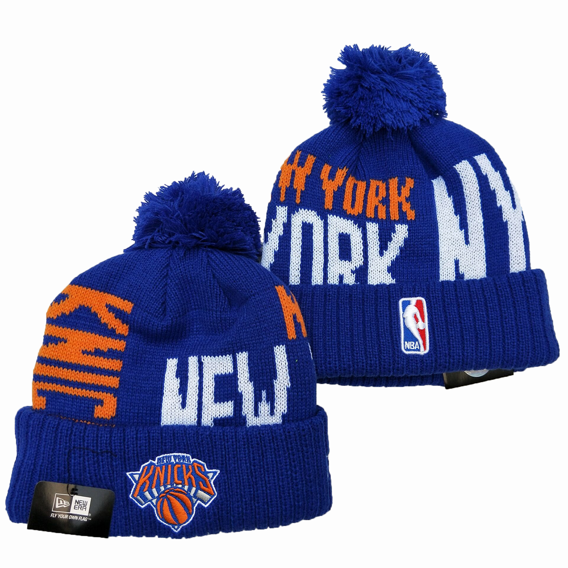 Knicks Team Logo Blue Pom Knit Hat YD