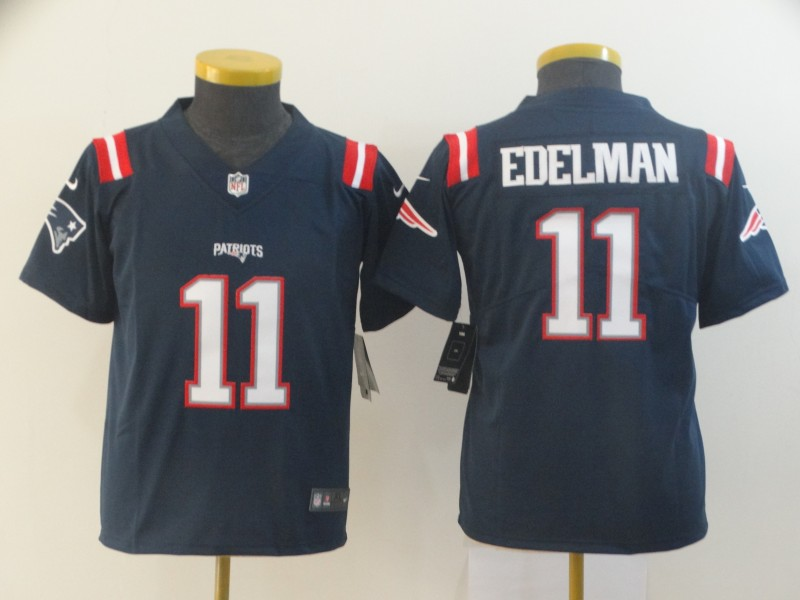 Nike Patriots 11 Julian Edelman Navy Youth Color Rush Limited Jersey