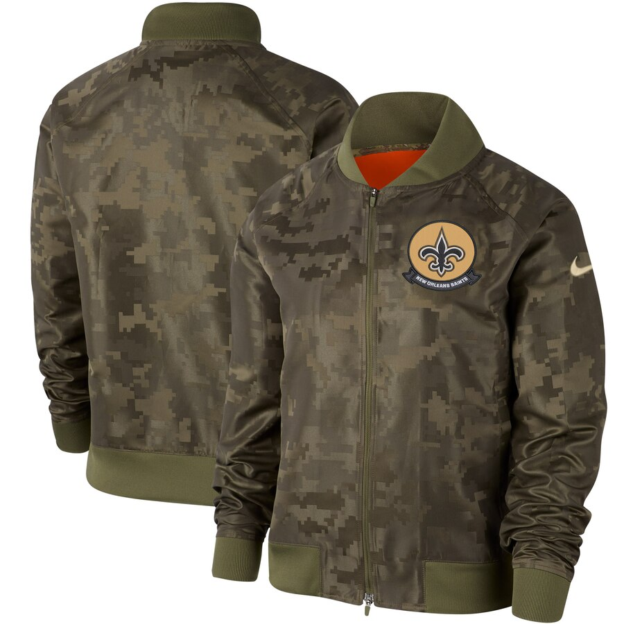 Women's New Orleans Saints Nike Olive 2019 Salute to Service Full Zip Bomber Jacket