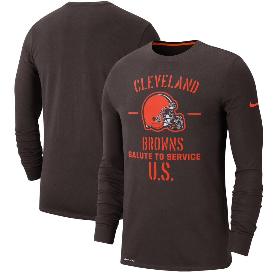Men's Cleveland Browns Nike Brown 2019 Salute to Service Sideline Performance Long Sleeve Shirt