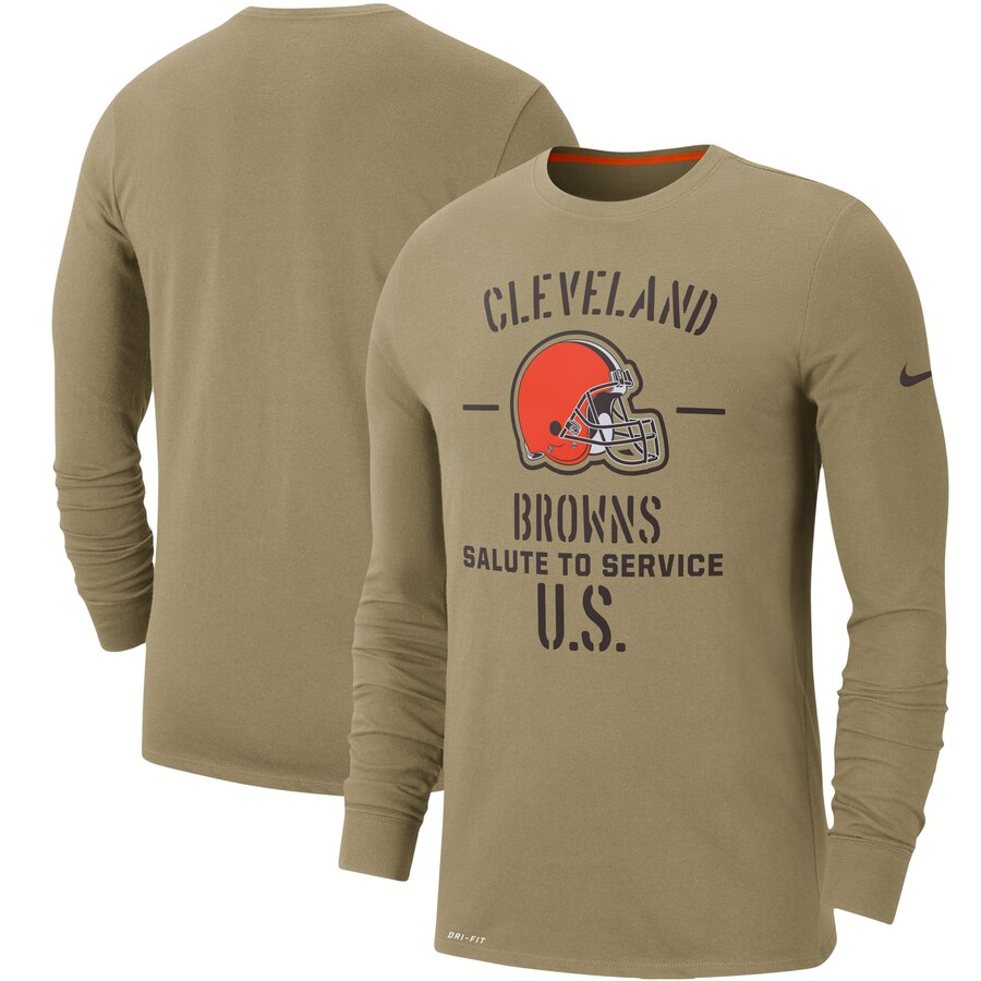Men's Cleveland Browns Nike Tan 2019 Salute to Service Sideline Performance Long Sleeve Shirt
