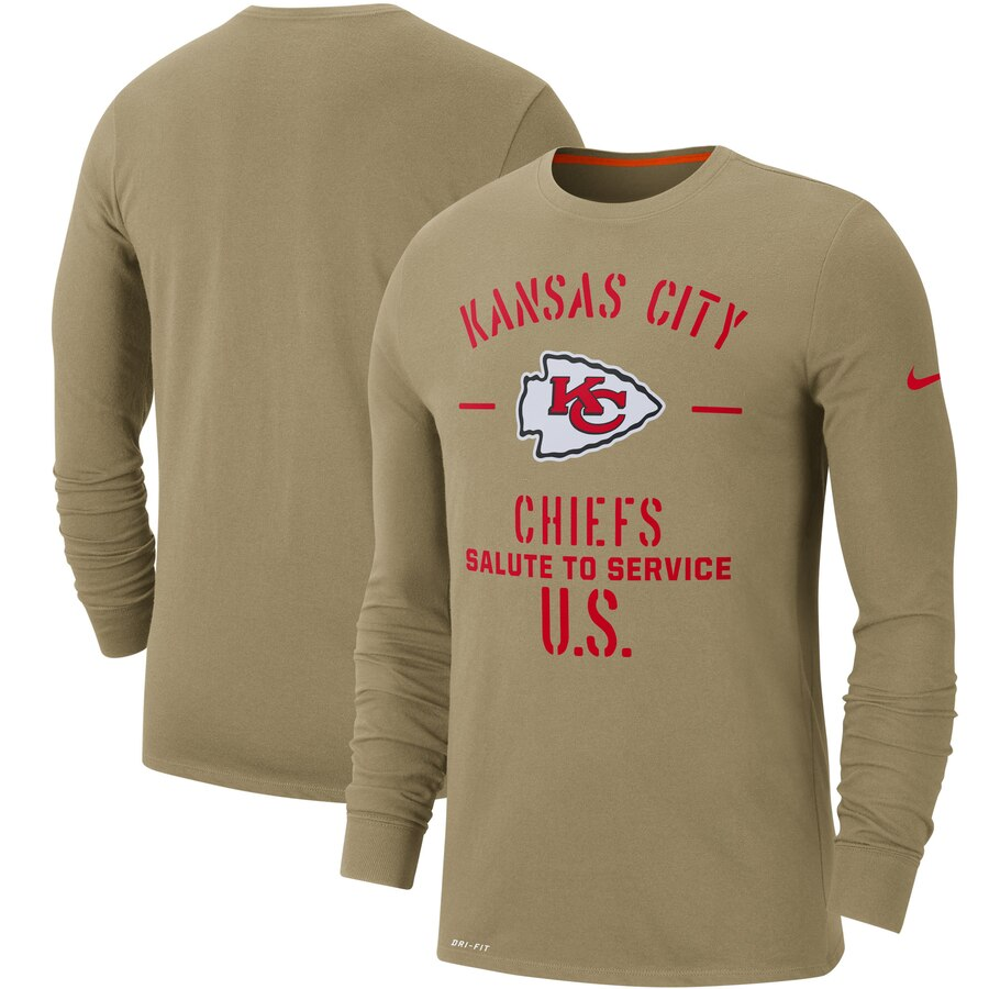 Men's Kansas City Chiefs Nike Tan 2019 Salute to Service Sideline Performance Long Sleeve Shirt