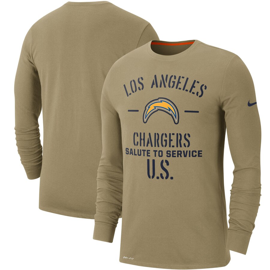 Men's Los Angeles Chargers Nike Tan 2019 Salute to Service Sideline Performance Long Sleeve Shirt