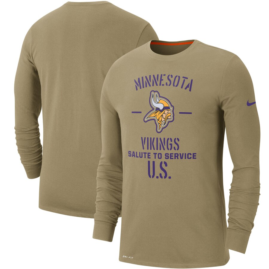Men's Minnesota Vikings Nike Tan 2019 Salute to Service Sideline Performance Long Sleeve Shirt