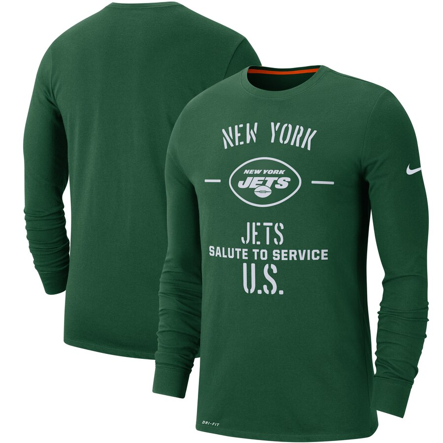 Men's New York Jets Nike Green 2019 Salute to Service Sideline Performance Long Sleeve Shirt