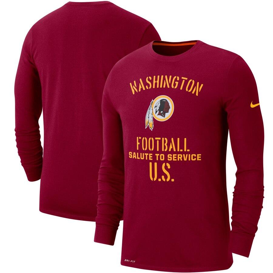 Men's Washington Redskins Nike Burgundy 2019 Salute to Service Sideline Performance Long Sleeve Shirt