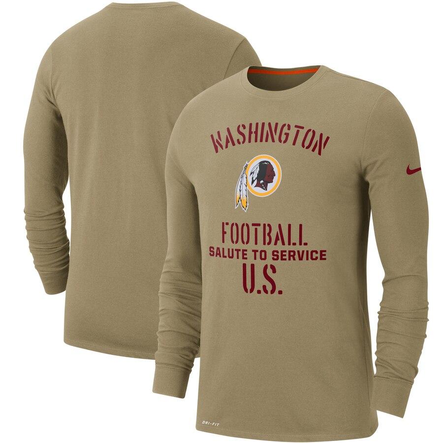 Men's Washington Redskins Nike Tan 2019 Salute to Service Sideline Performance Long Sleeve Shirt