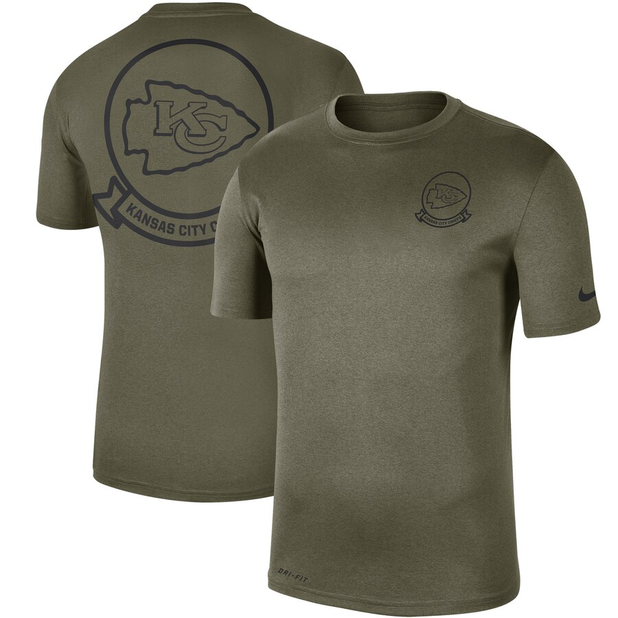 Men's Kansas City Chiefs Nike Olive 2019 Salute to Service Sideline Seal Legend Performance T-Shirt