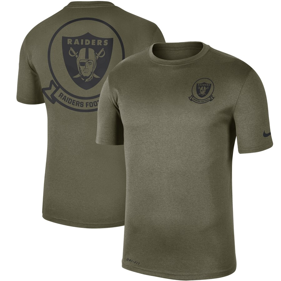 Men's Oakland Raiders Nike Olive 2019 Salute to Service Sideline Seal Legend Performance T-Shirt