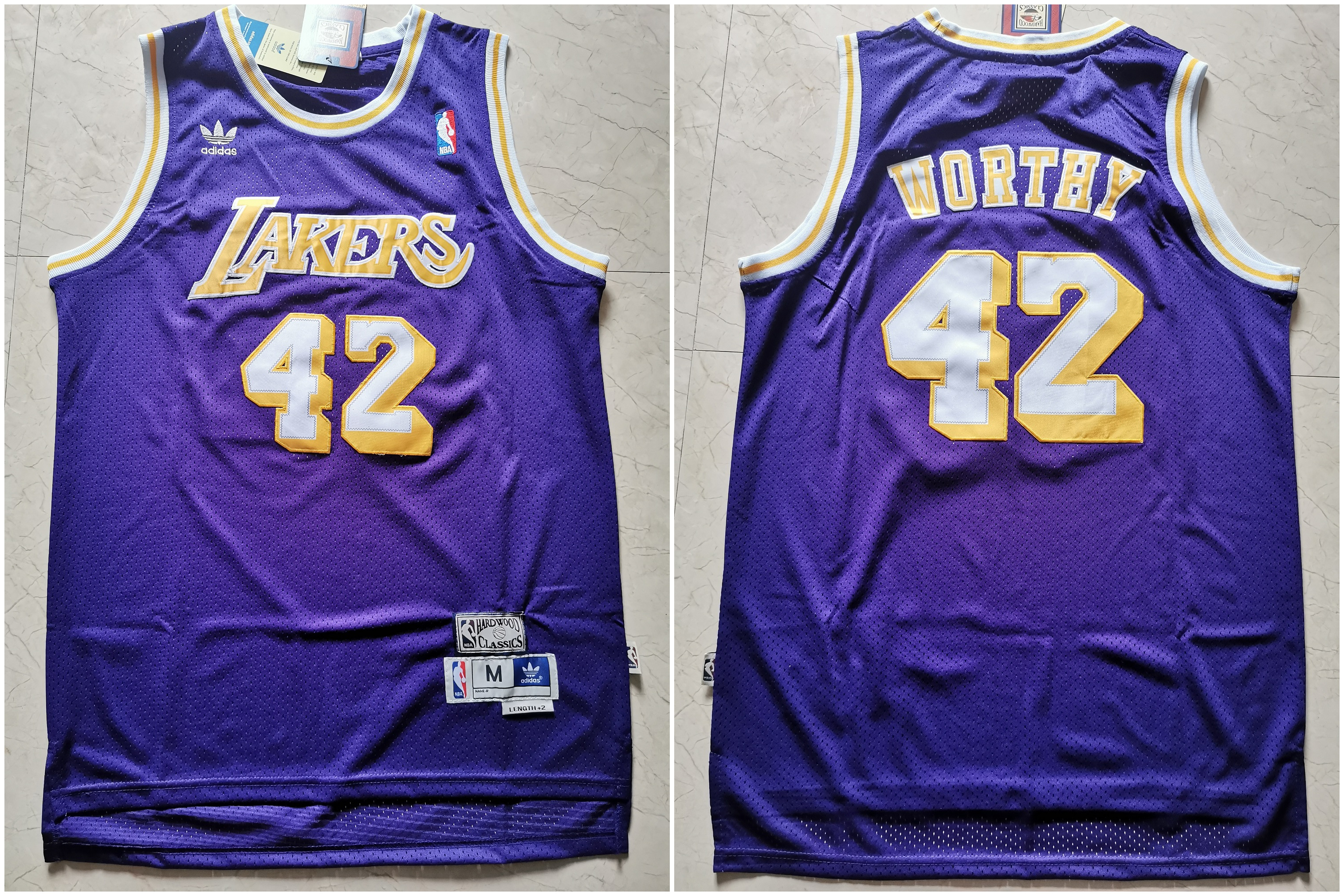 Lakers 42 James Worthy Purple Hardwood Classics Jersey