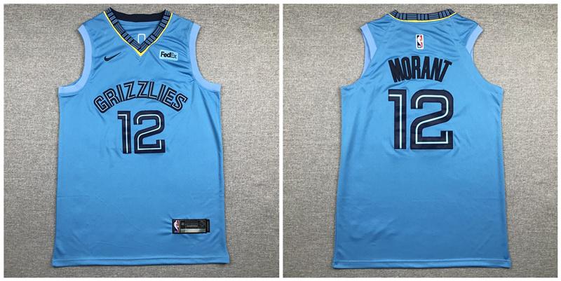 Grizzlies 12 Ja Morant Light Blue Nike Authentic Jersey