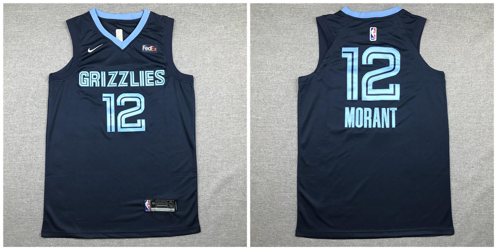 Grizzlies 12 Ja Morant Navy Nike Authentic Jersey