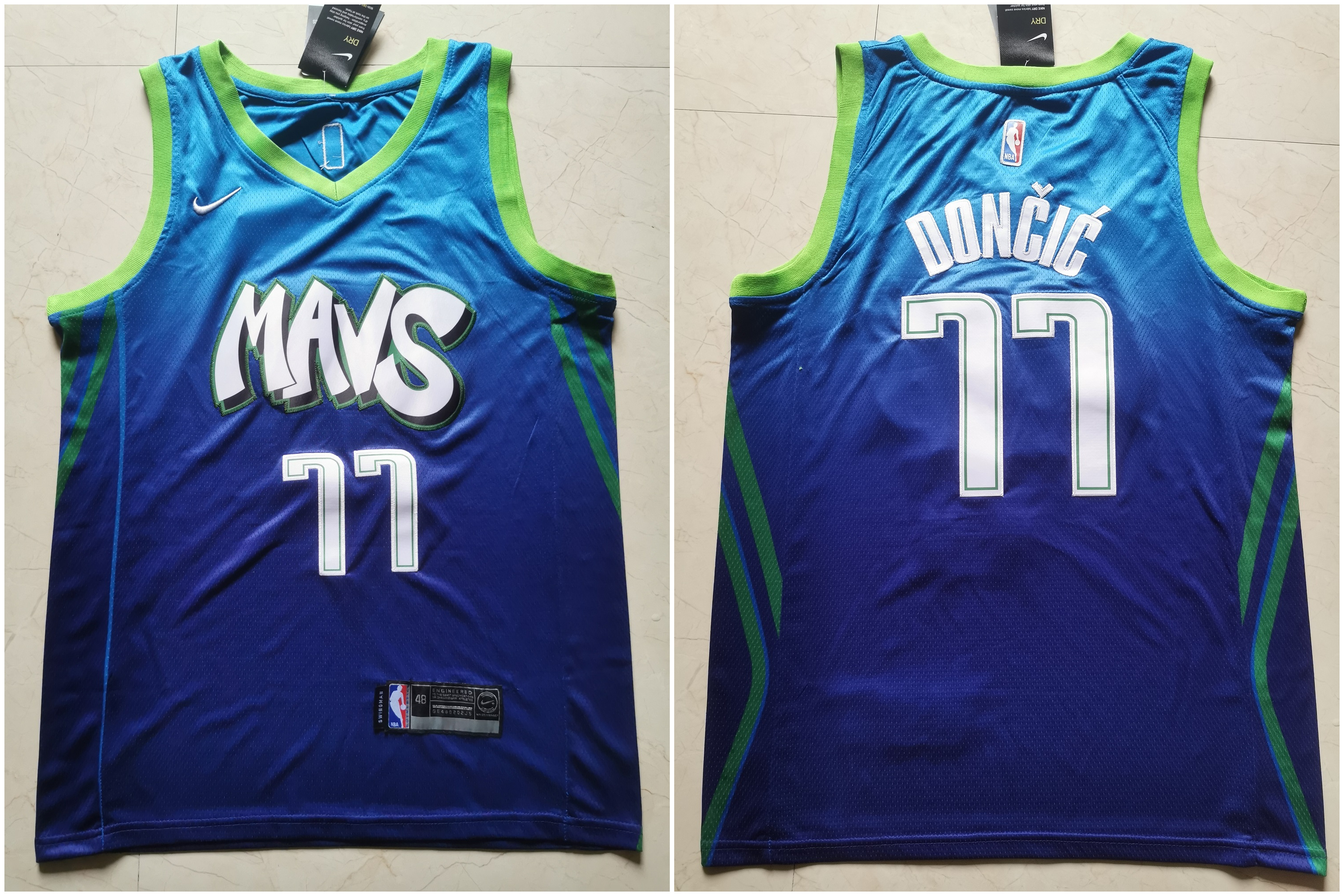 Mavericks 77 Luka Doncic Blue 2019-20 City Edition Nike Swingman Jersey