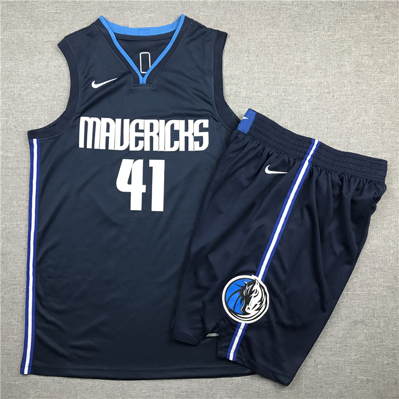 Mavericks 41 Dirk Nowitzki Navy Nike Swingman Jersey(With Shorts)