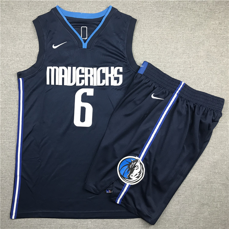 Mavericks 6 Kristaps Porzingis Navy Nike Swingman Jersey(With Shorts)