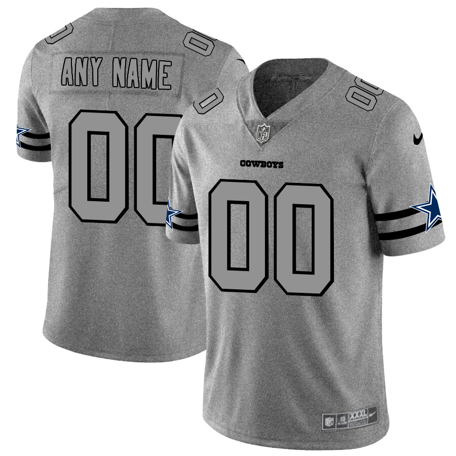 Nike Cowboys Customized 2019 Gray Gridiron Gray Vapor Untouchable Limited Jersey