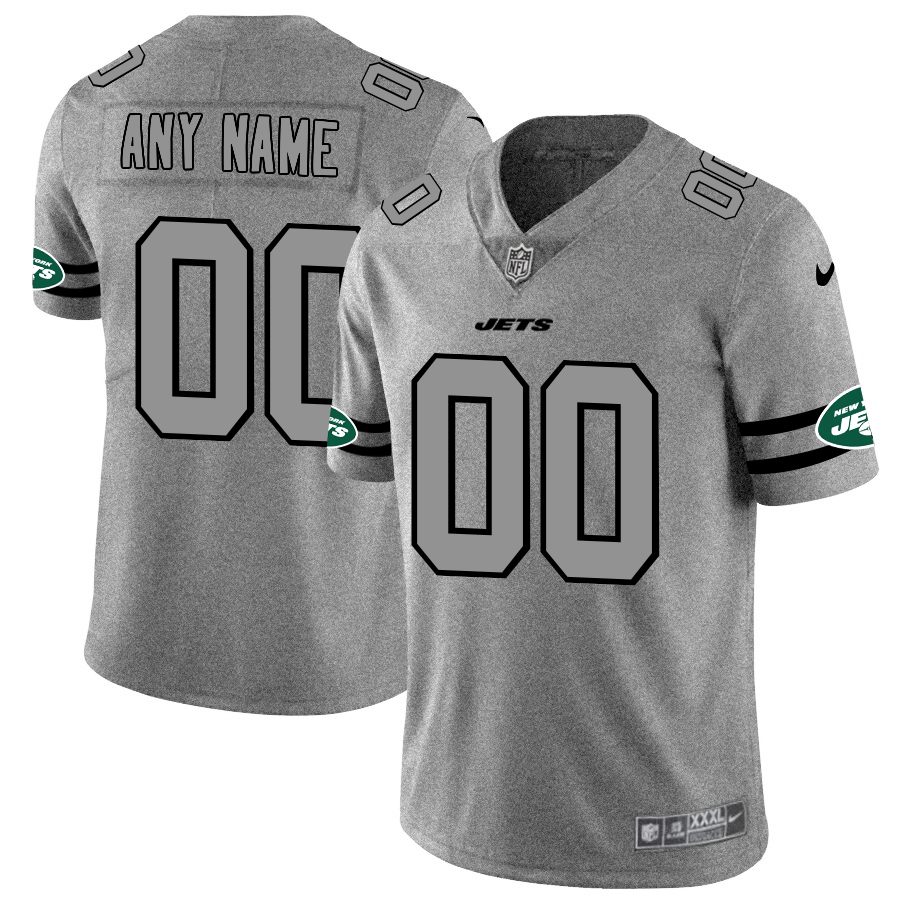 Nike Jets Customized 2019 Gray Gridiron Gray Vapor Untouchable Limited Jersey