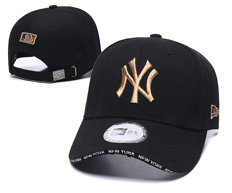 Yankees Team Logo Black Speak Adjustable Hat TX